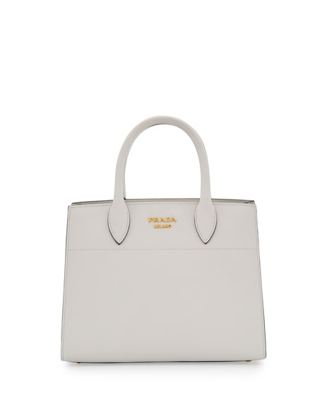 City Calf + Ayers Bibliotheque Watersnake Small Tote Bag, White (Bianco)