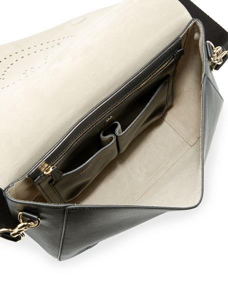 Ebury Perforated Smiley Satchel Bag, Black