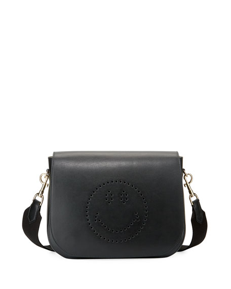 Anya Hindmarch Ebury Perforated Smiley Satchel Bag, Black