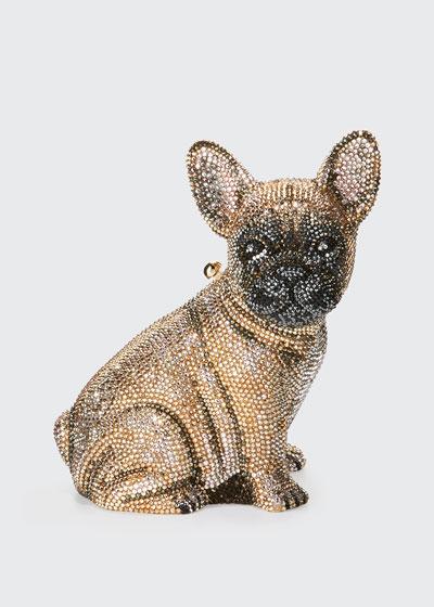 Pierre French Bulldog Crystal Clutch Bag  Champagne