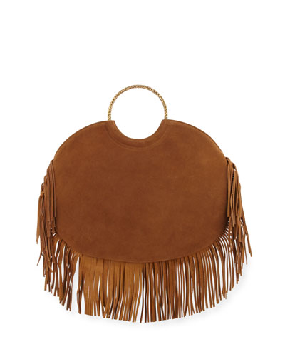 Bracelet Sac Suede Fringe Serpent Hobo Bag, Tan