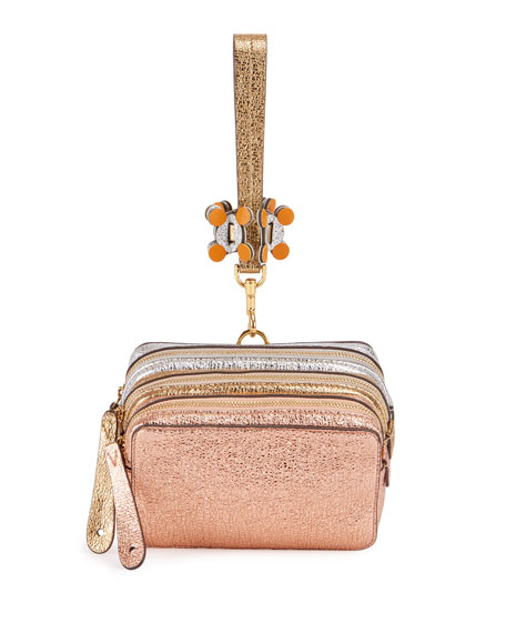 Anya Hindmarch The Stack Circulus Wristlet Bag, Salmon