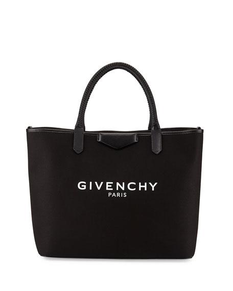 Antigona Medium Fabric Shopper Bag, Black