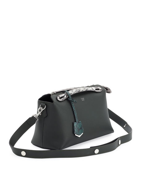 By the Way Small Leather & Snakeskin Satchel Bag, Green/Silver