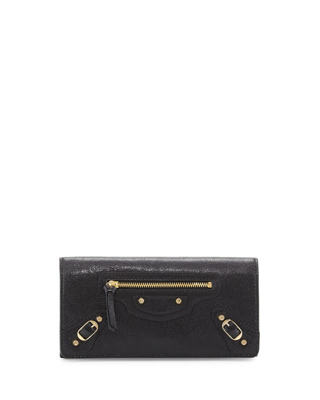 Balenciaga Classic Gold Money Wallet, Black (Noir)
