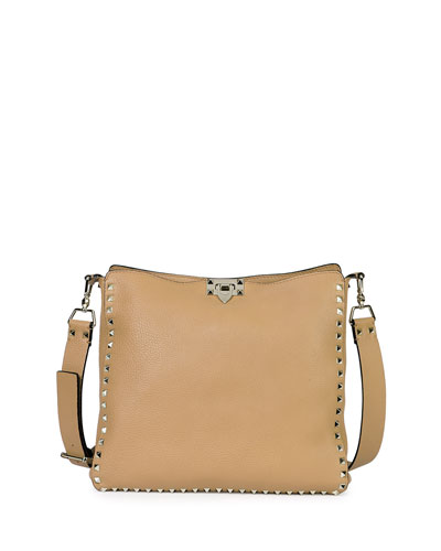 Rockstud Small Messenger Bag, Taupe