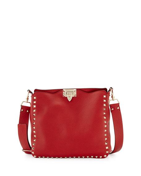 bff889fe5b Valentino Garavani Rockstud Small Flip-Lock Messenger Bag, Red