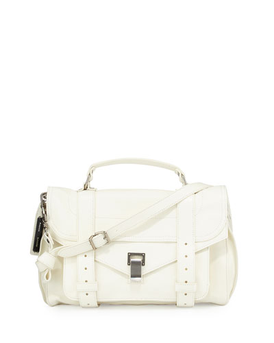 PS1 Medium Leather Satchel Bag, White