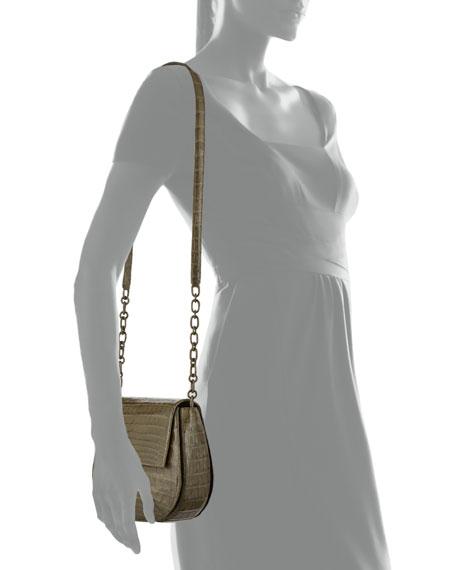 Round Flap-Top Crocodile Crossbody Bag, Army Green