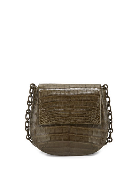 Nancy Gonzalez Round Flap-Top Crocodile Crossbody Bag, Army