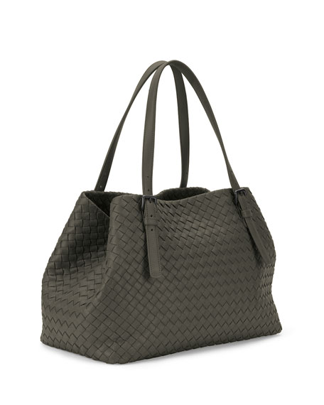 Intrecciato Medium A-Shaped Tote Bag, Light Gray