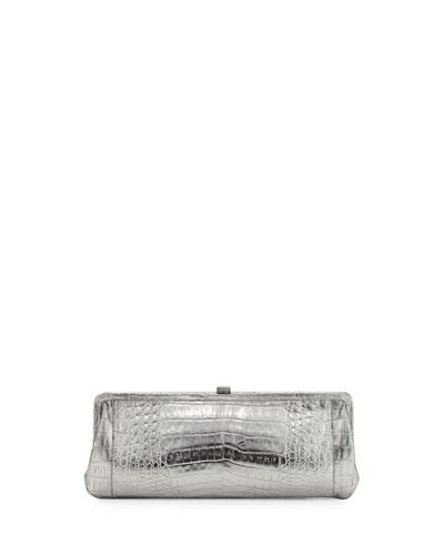 Crocodile Slim Frame Clutch Bag, Anthracite Mirror
