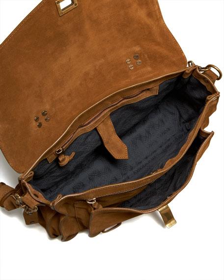 PS1 Medium Suede Satchel Bag, Tobacco
