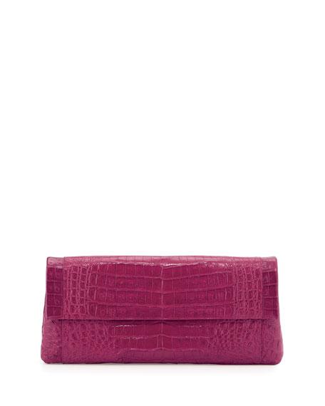 Nancy Gonzalez Gotham Crocodile Flap Clutch Bag, Pink