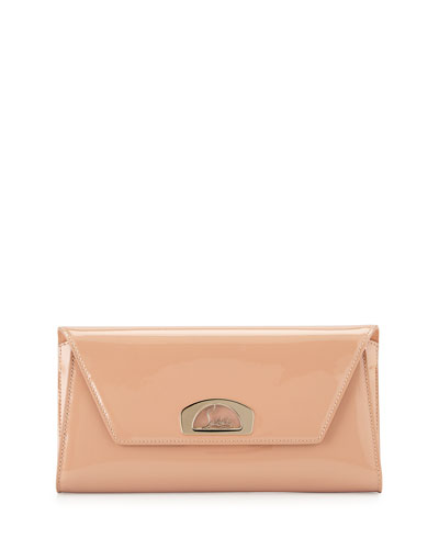 Vero Dodat Flap Patent Clutch Bag, Nude