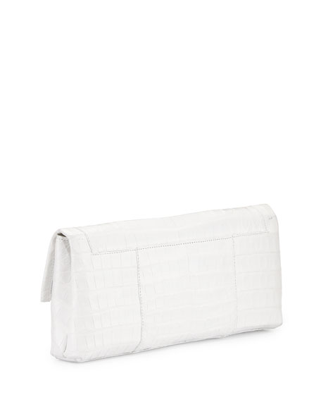 Gotham Crocodile Flap Clutch Bag, White Shiny