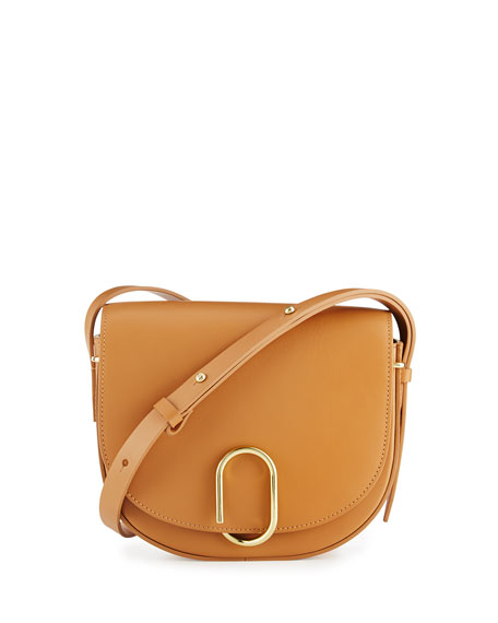 Alix Leather Saddle Bag, Black