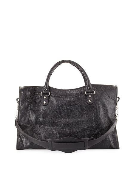 Classic City Lambskin Shoulder Bag, Gray