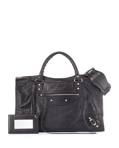 Classic City Lambskin Shoulder Bag, Gray