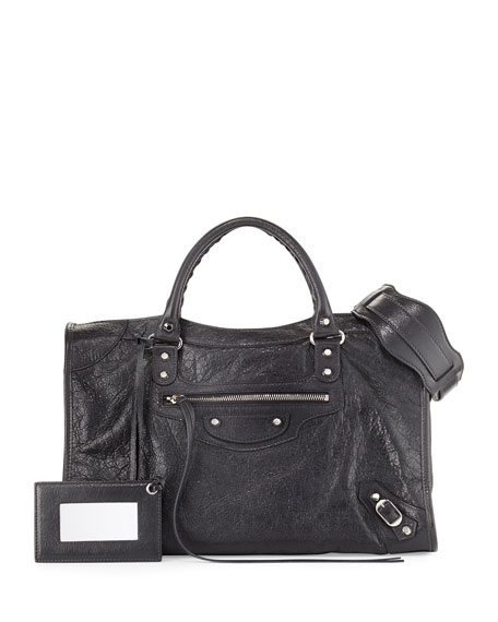 Balenciaga Classic City Lambskin Shoulder Bag, Gray