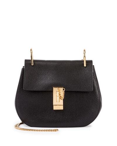 Drew Nano Leather Saddle Bag, Black