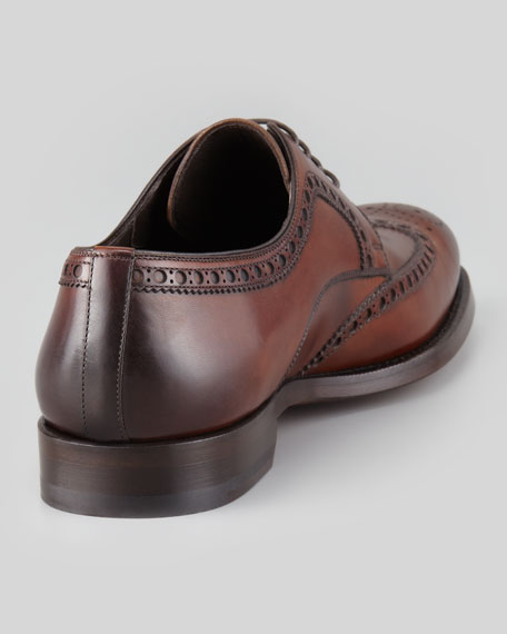 Leather Lace-Up Wing-Tip, Mid Brown