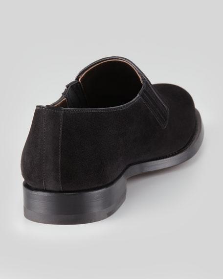 Gored Suede Slip-On, Black