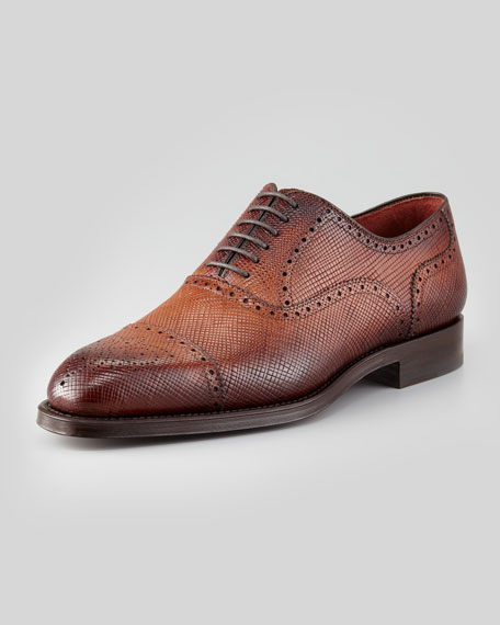 Grain Leather Brogue Oxford, Light Brown