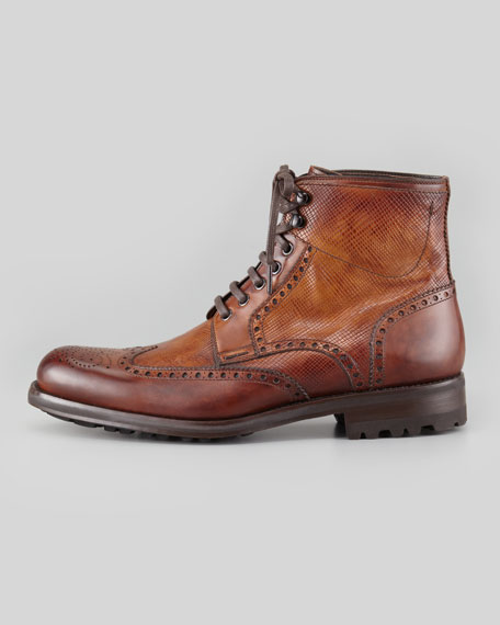Grain/Smooth Leather Wing-Tip Boot, Brown
