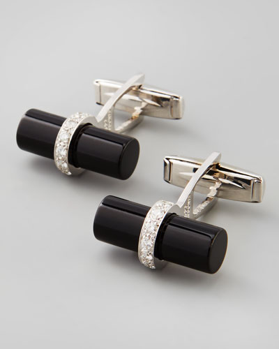 Black Onyx and Diamond Bar Cuff Links