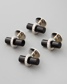 Set of 4 Diamond and Black Onyx Bar Studs
