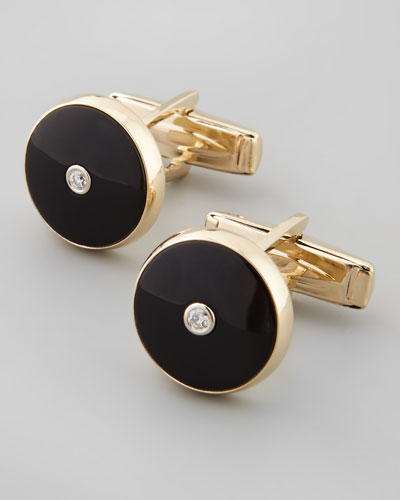 Black Onyx and Diamond Round Cuff Links