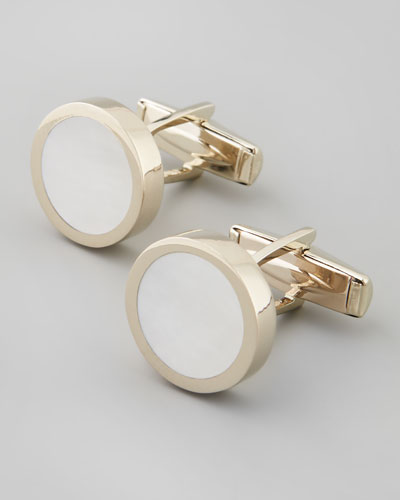 Mother-of-Pearl Round Cuff Links
