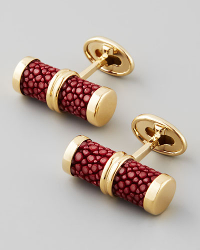 Stingray Bar Cuff Links, Bordeaux