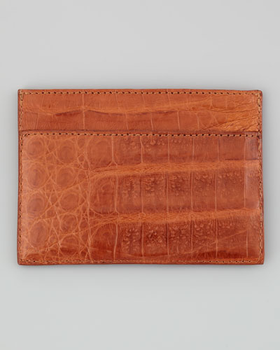Crocodile Card Holder, Cognac
