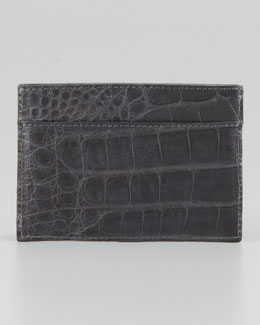 Crocodile Card Holder, Gray