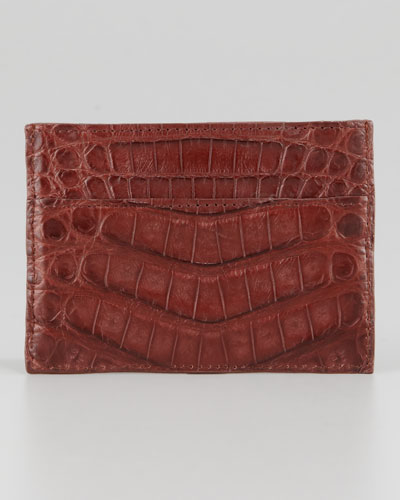 Crocodile Card Holder, Medium brown