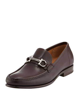 Raffaele Leather Gancini Loafer, Medium Brown