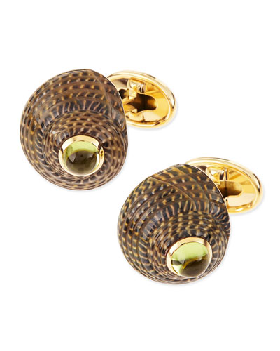 Shell Cuff Links with Peridot Center