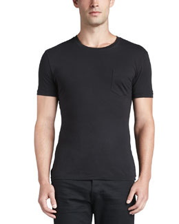 Pocket Crewneck Tee, Black