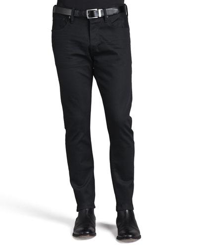 Straight-Fit Denim Jeans, Black