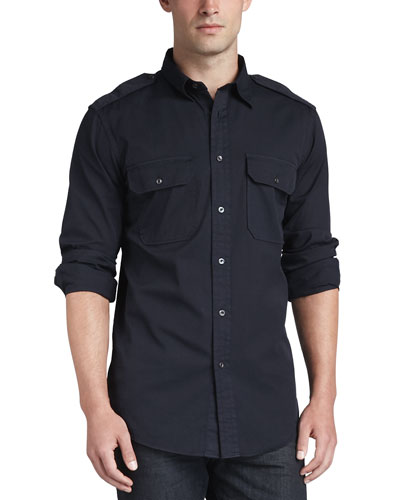 Casual Military Shirt, Navy