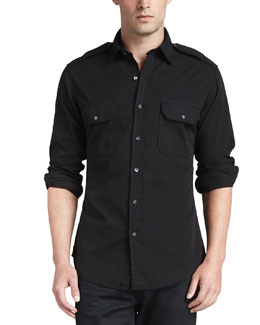 Casual Military Shirt, Black