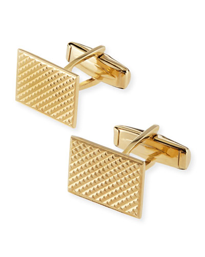 14k Rectangle Engine Turned Cuff Links