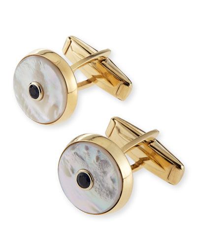 14k Mother-of-Pearl Cuff Links with Sapphire