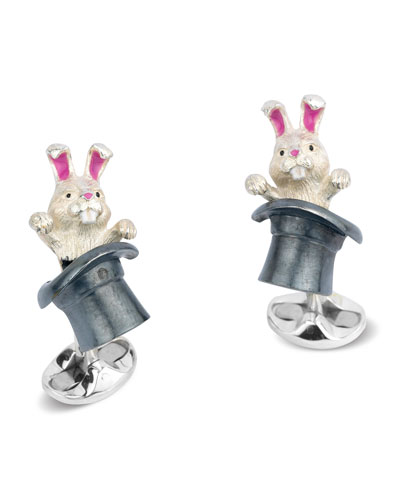 Rabbit in Hat Cuff Links