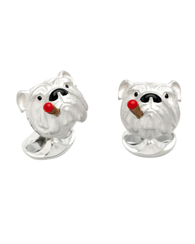 Bulldog with Cigar Cuff Links