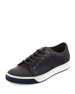 Croc-Embossed Nubuck Low-Top Sneaker, Dark Blue