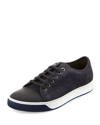 Croc-Embossed Nubuck Low-Top Sneaker, Dark Blue