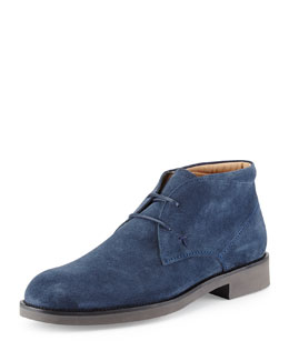 Tods Light-Sole Suede Chukka Boot, Blue